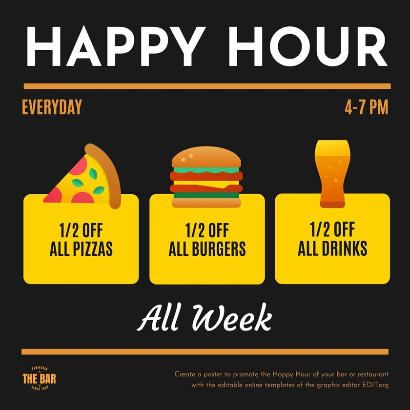 Happy hour template with beer, burger and pizza icons