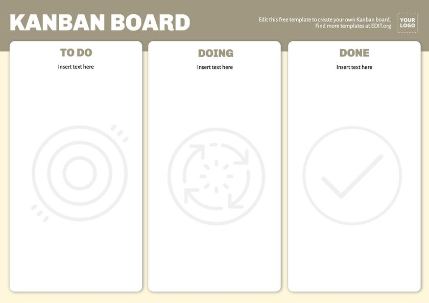 Kanban board template to edit online, download for free and print
