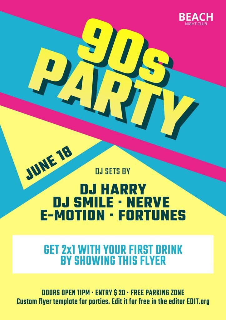 party flyer template customize for free in the online editor EDIT.org
