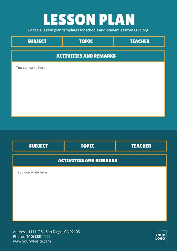 Elementary lesson plan templates for schools