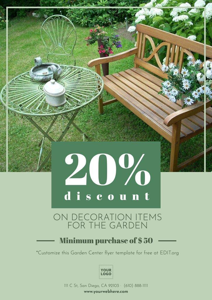 Garden center flyer template to promote discounts