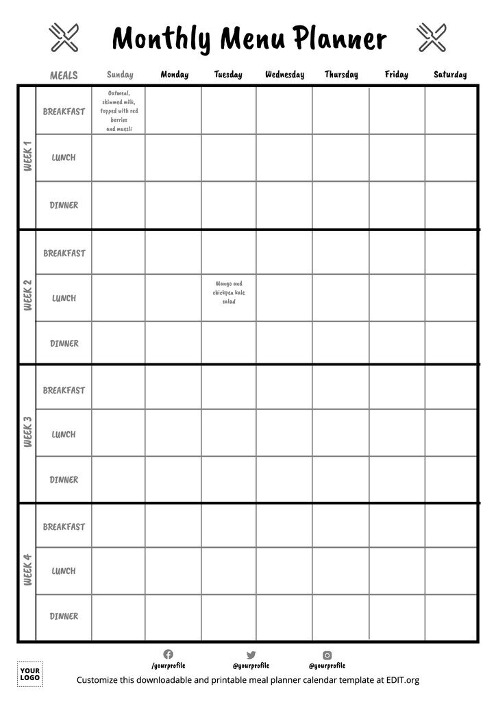 Monthly meal planner template editable online for free