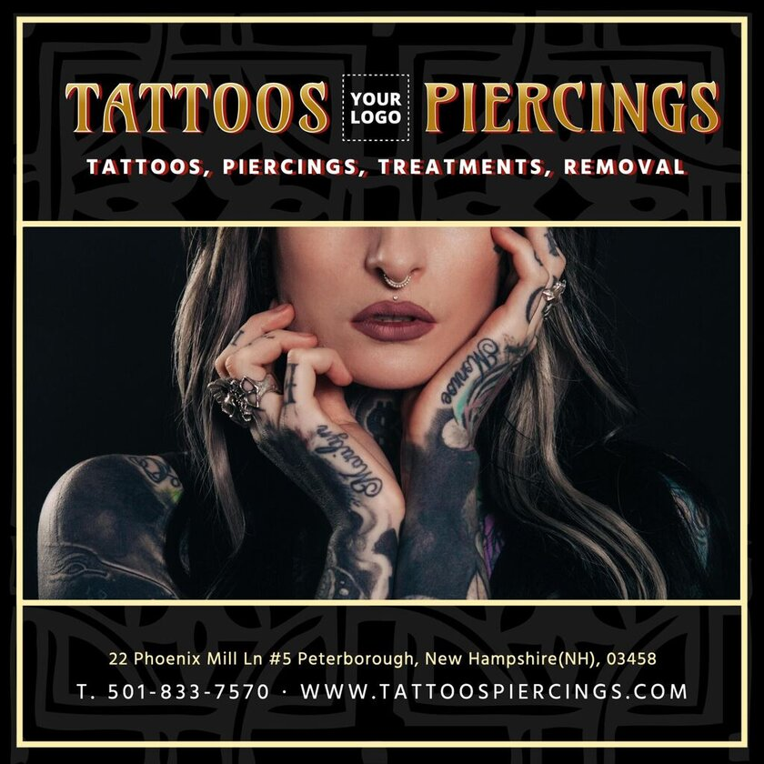 Presentation template for tattoo studio, editable and customizable