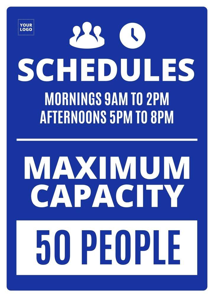 Maximum capacity schedule poster template