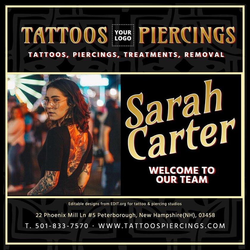 Editable piercing studio banner template