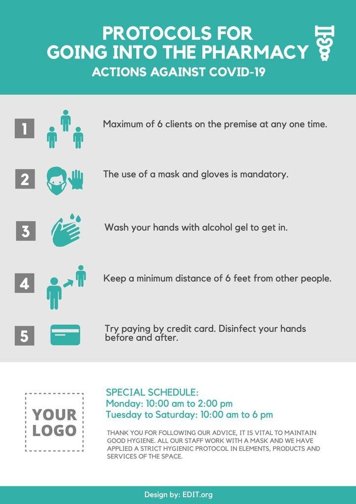 Pharmacy best advice for coronavirus. Editable template