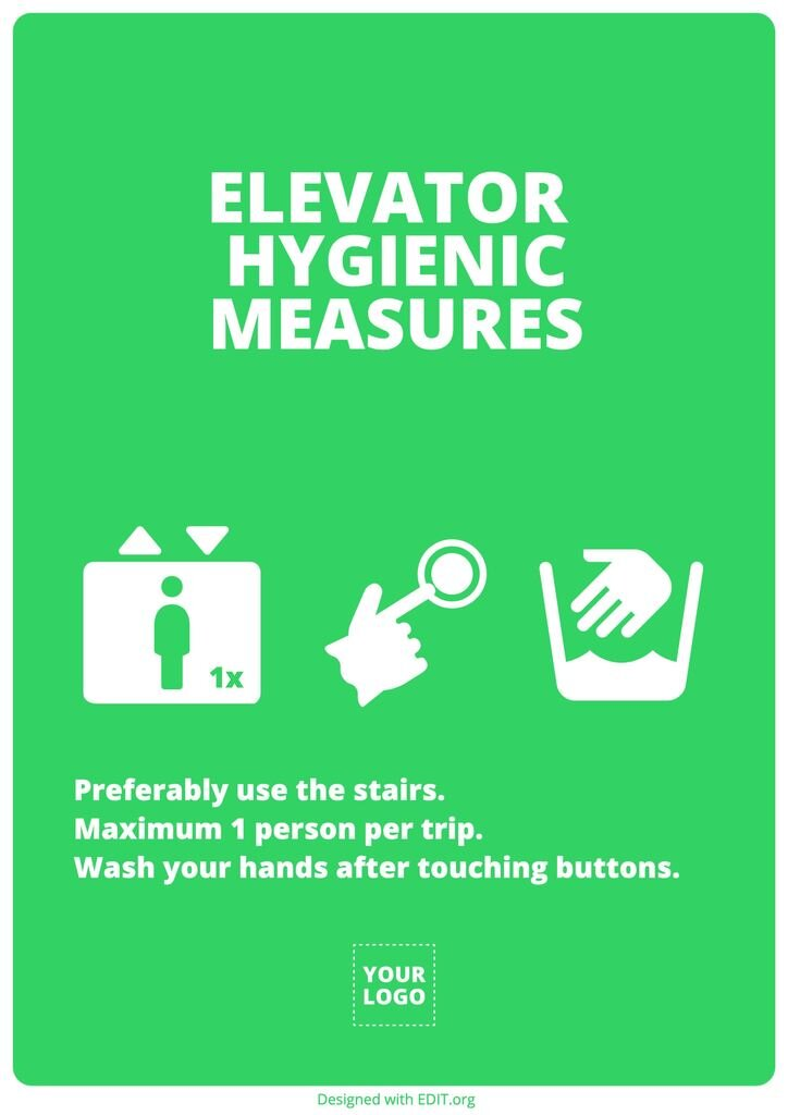 template image coronavirus recommendations elevator