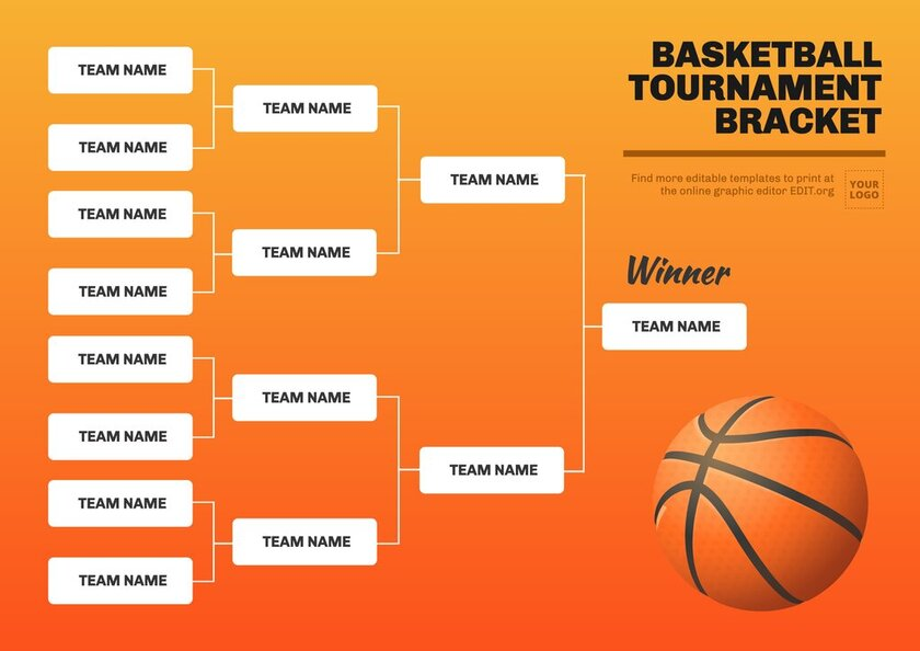 Basketball 16 teams tournament bracket to edit online for free