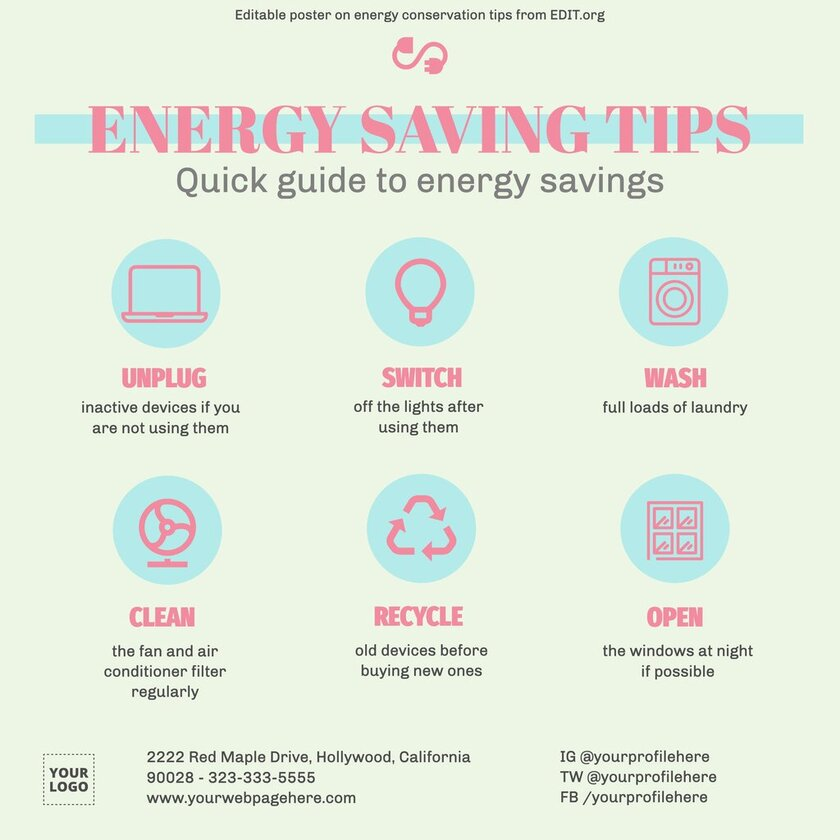 Free banner with energy saving tips