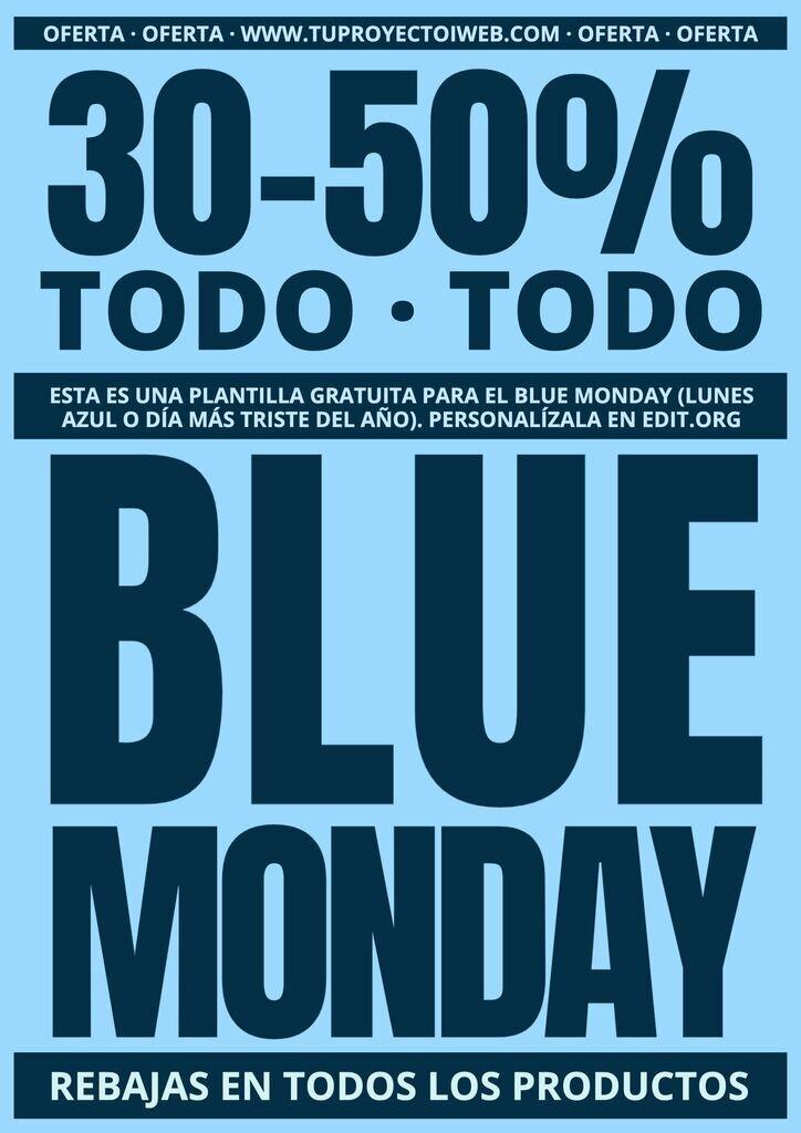 Blue Monday imagen editable para descuentos