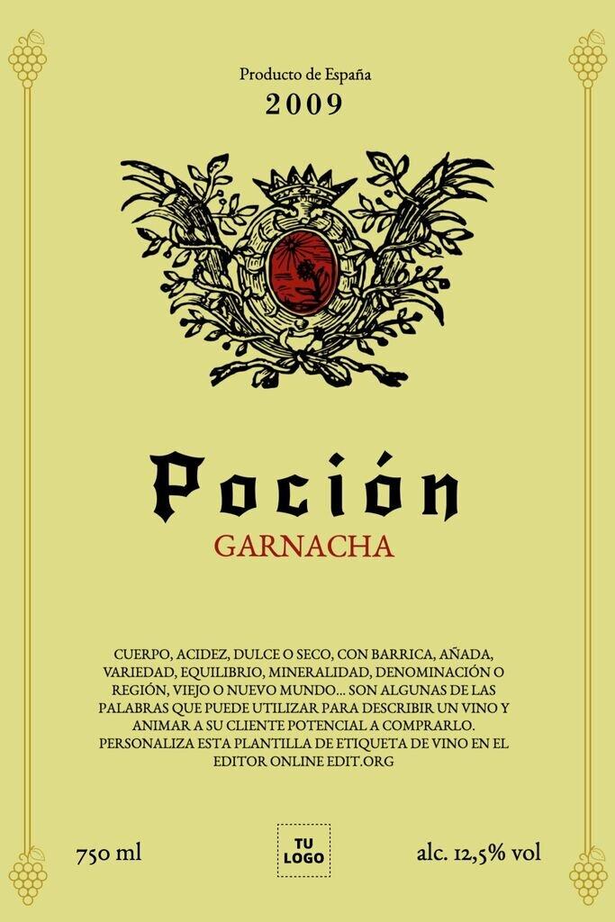 Plantilla de etiqueta para vino editar online