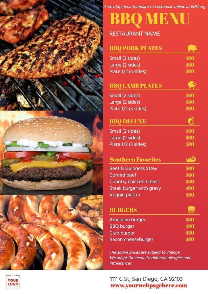 Printable barbecue restaurant menu template