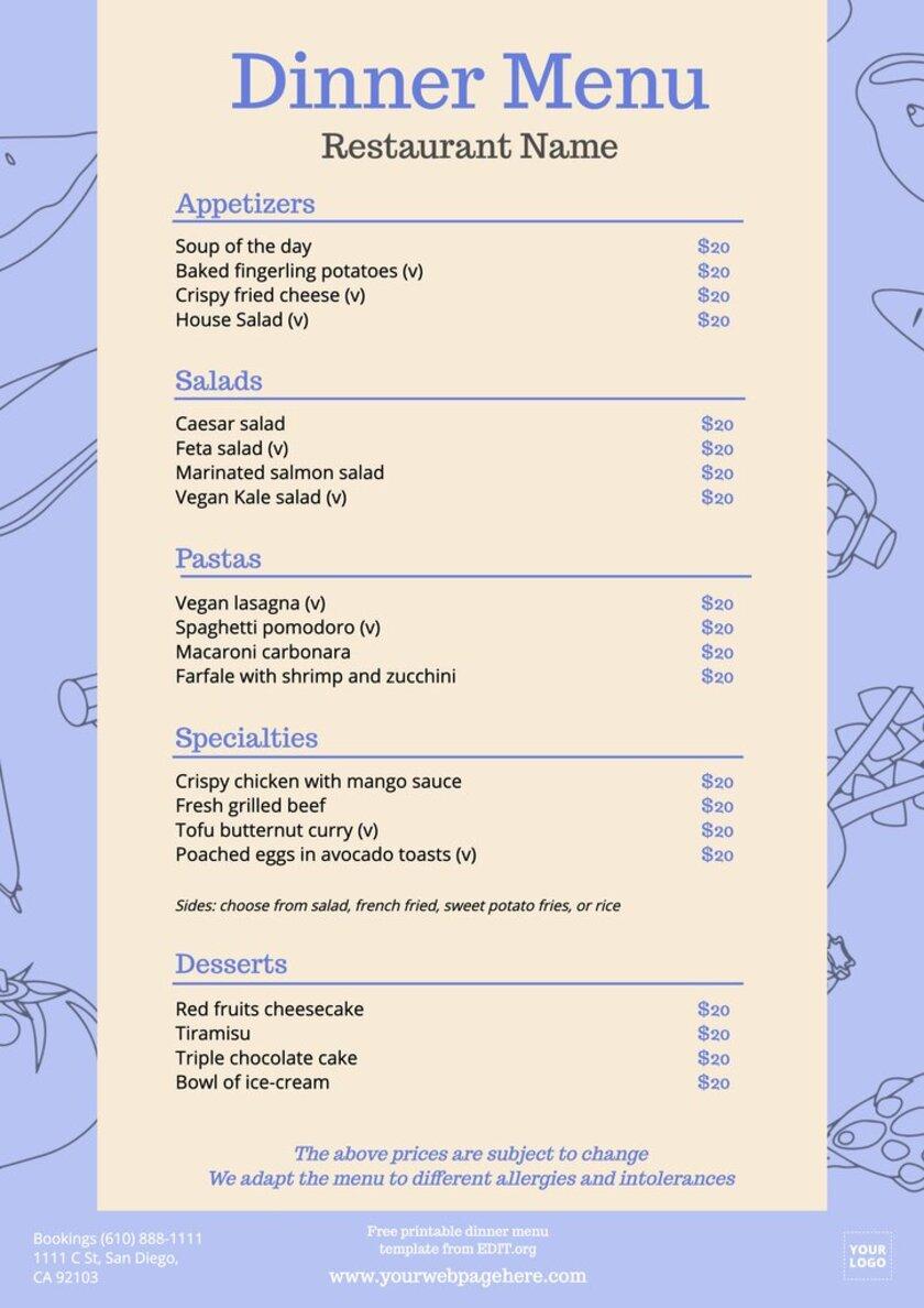 Free printable dinner menu design
