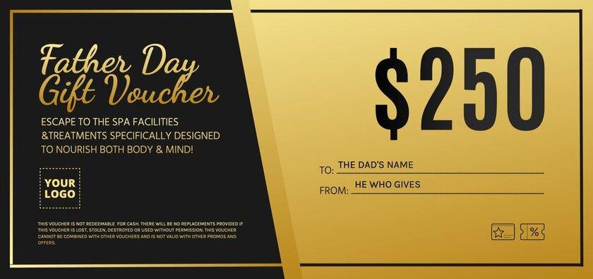 Voucher gift fathers day golden design