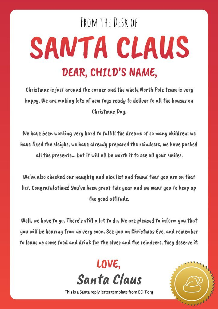 Free editable letter from Santa template
