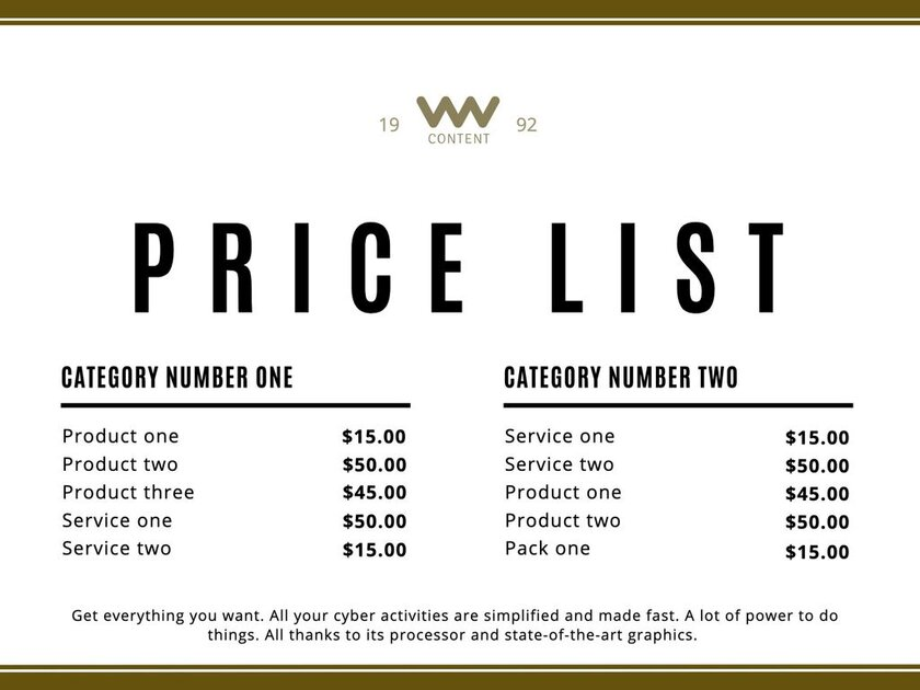 Price list template to edit and print for products and services for free