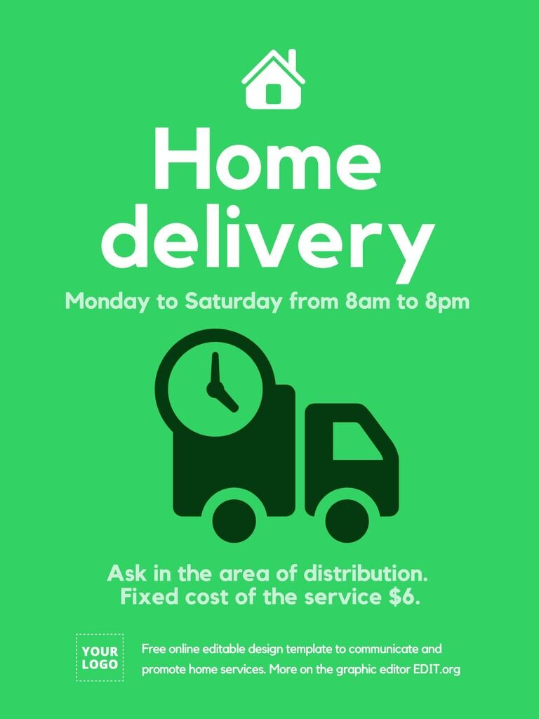 Home delivery poster to edit online