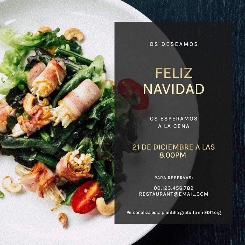 Plantilla Menu Navidad invitacion editable gratis