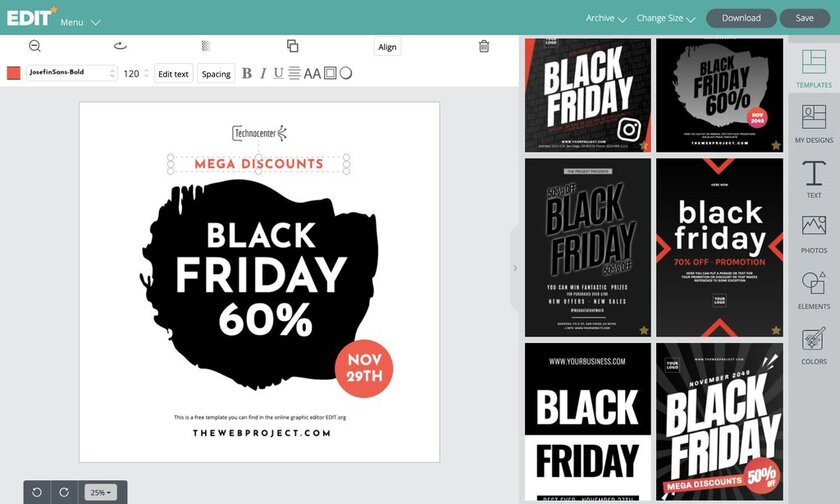 Online graphic editor for free Black Friday banner templates