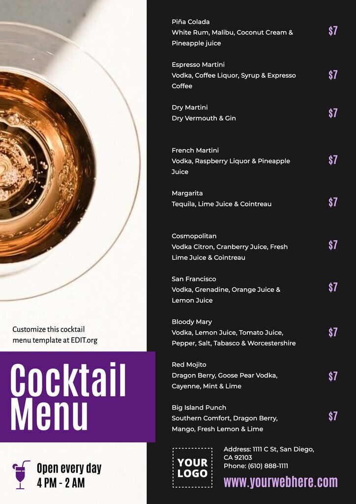 Free printable drink menu for cocktails and drinks