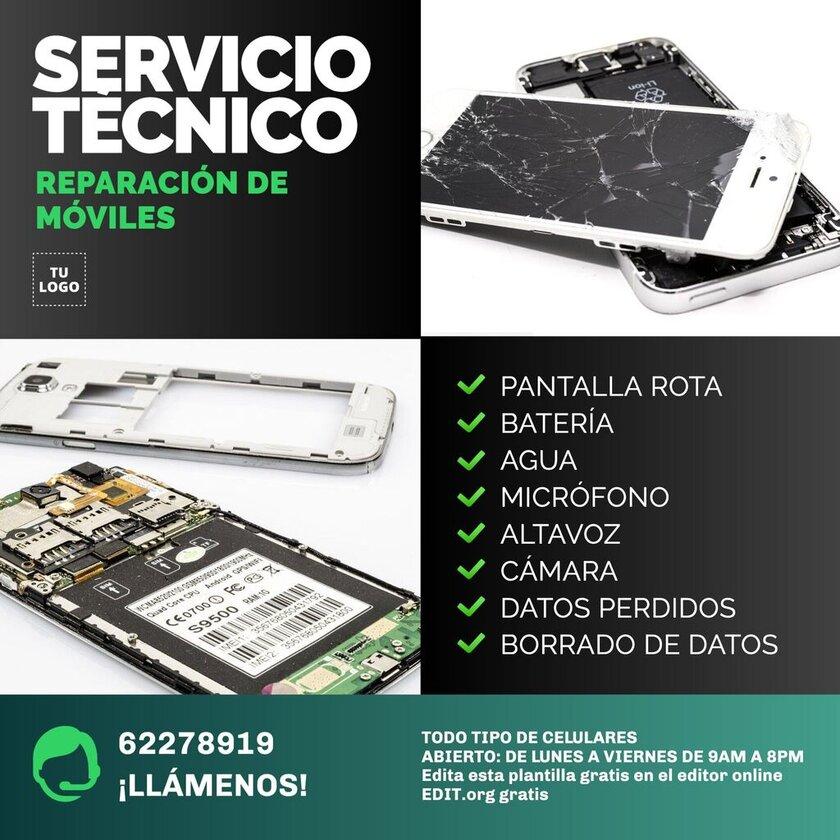 Plantilla gratis para tienda de reparacion moviles y celulares