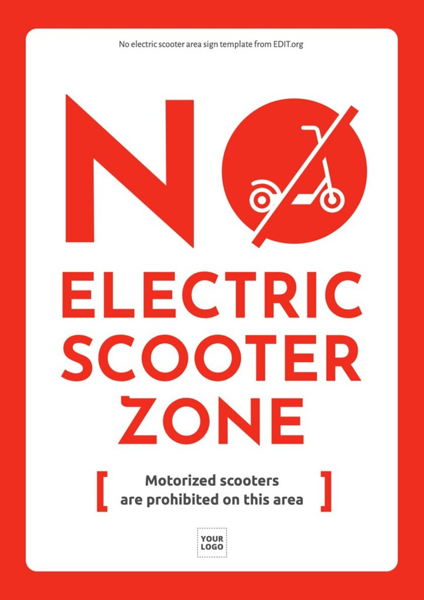 Free customizable electric scooter sign