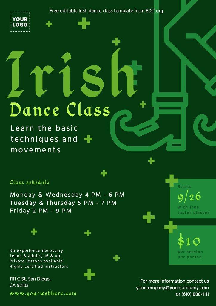 Customizable Irish dance school flyer