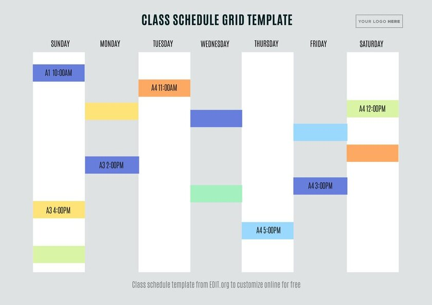 Class schedule template online for schools and colleges