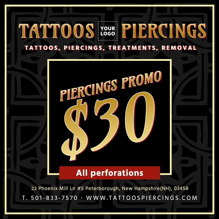 Editable template to promote prices in a tattoo and piercing studio