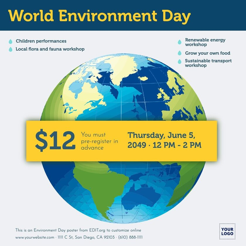 Editable world nature conservation day posters