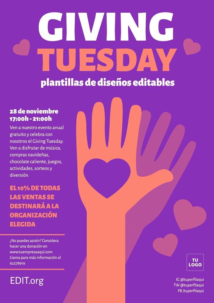 Plantillas editables online para crear flyers de campañas de donativos del Giving Tuesday