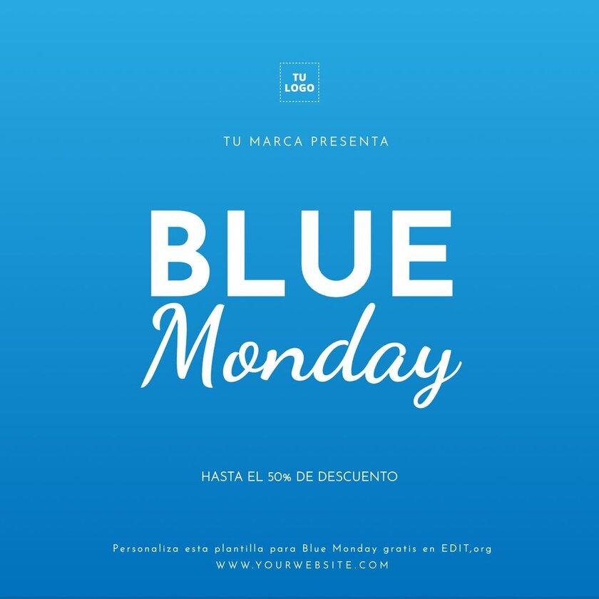 Blue Monday plantilla gratis, imagen editable
