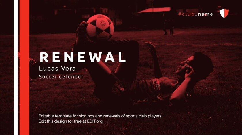 Renewal player editable template for your club