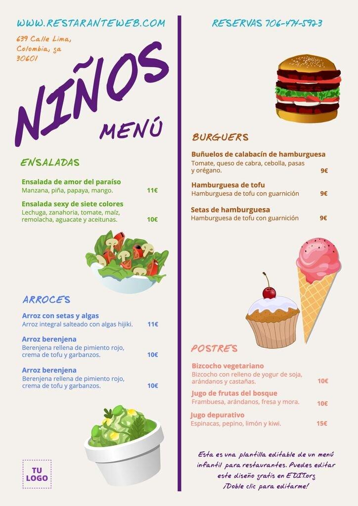 Plantilla de menu infantil para editar e imprimir