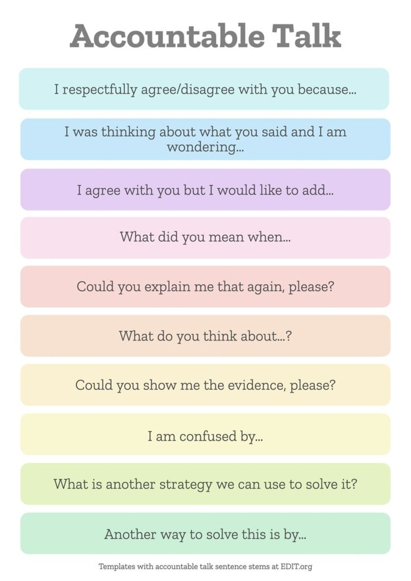 Free accountable talk stems for schools