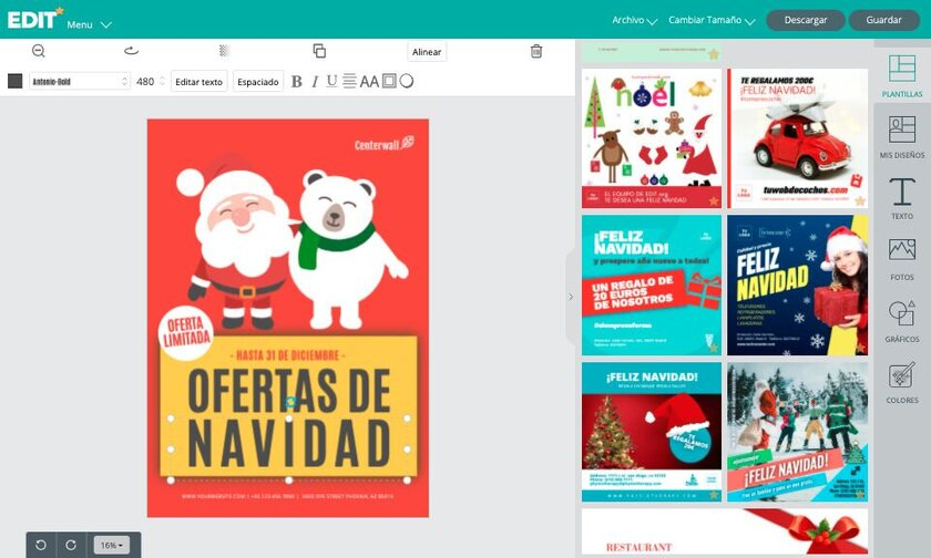 Plantillas gratis Navidad del editor grafico online EDIT.org