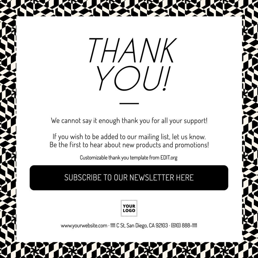 Thank you card to customize and print online