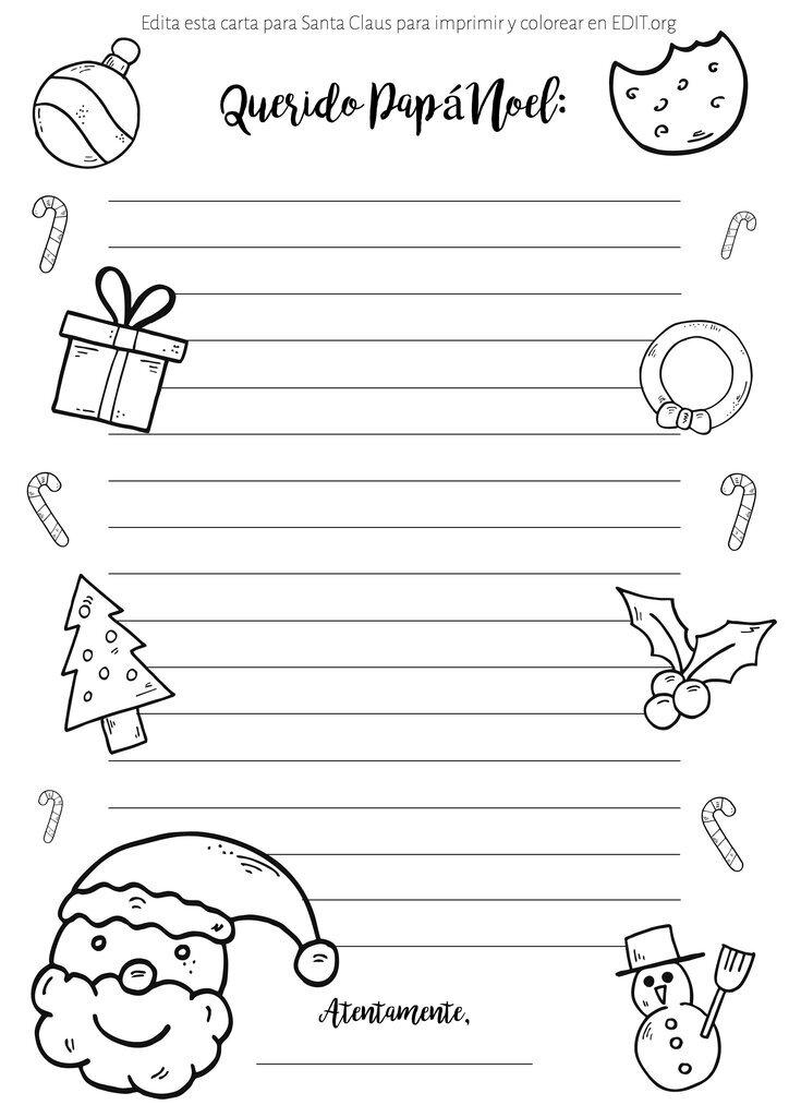 Plantillas de carta a Santa para colorear e imprimir