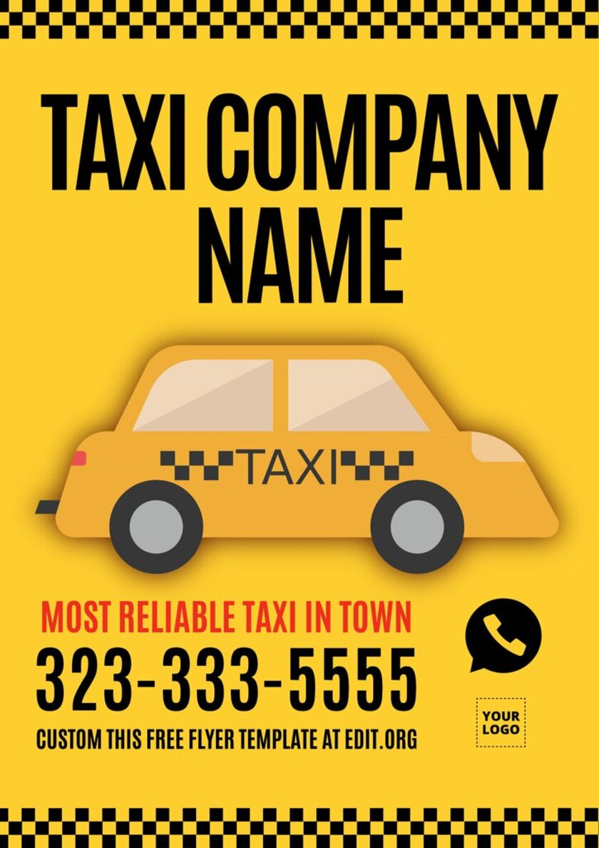Taxi Service flyer template, customizable online