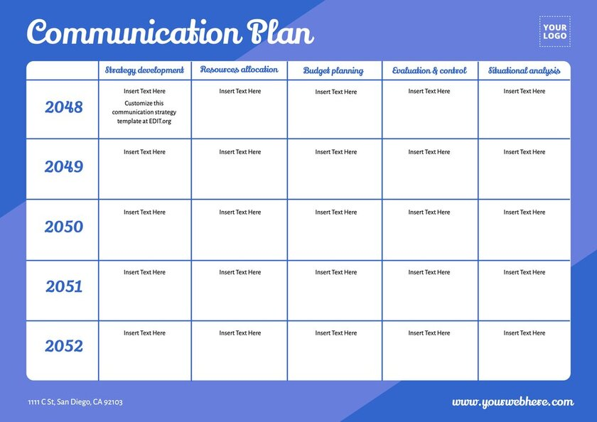 Free marketing communications plan template