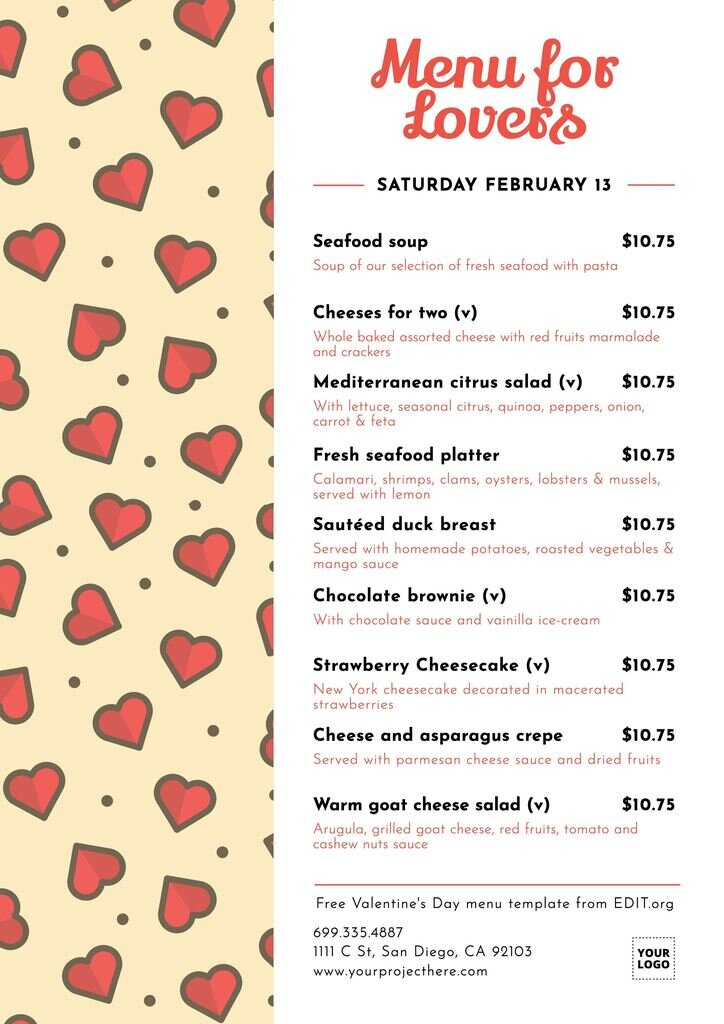 Personalized Valentines menu template to print