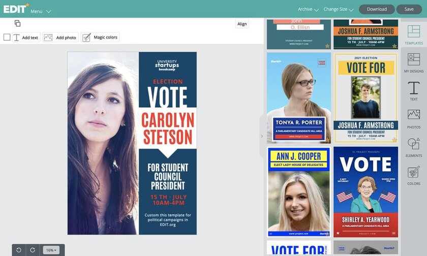 Graphic online editor with templates for campaign election templates