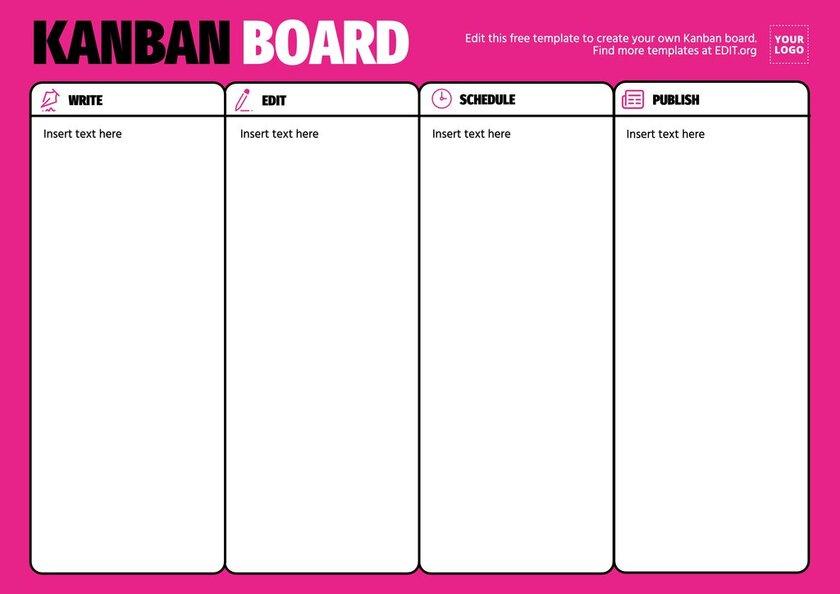 Kanban board template sample for publishing content online