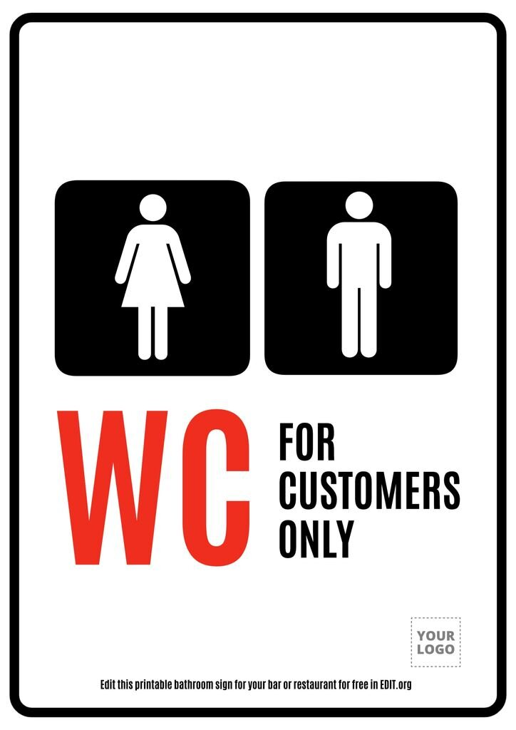 WC customers only printable sign template
