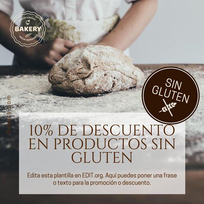 Plantilla editable para promociones de panaderías sin gluten