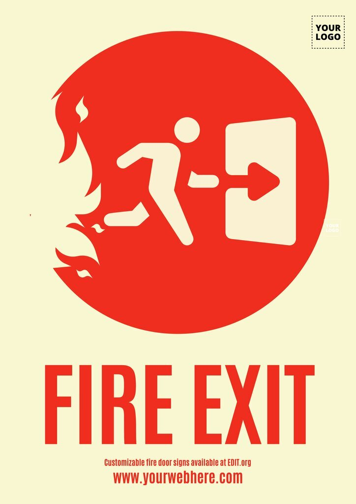 Editable fire door sign templates