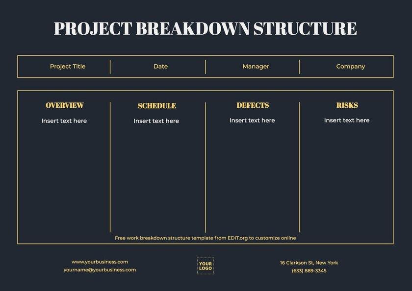 Customizable project breakdown template
