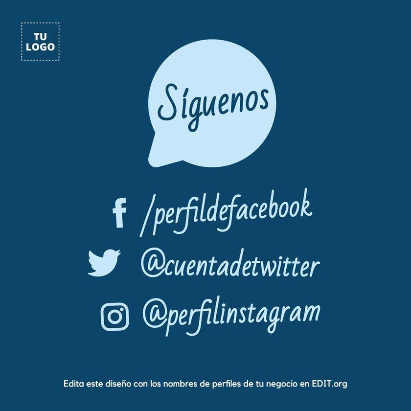 Plantilla diseño Siguenos en Facebook, Twitter e Instagram para conseguir más seguidores