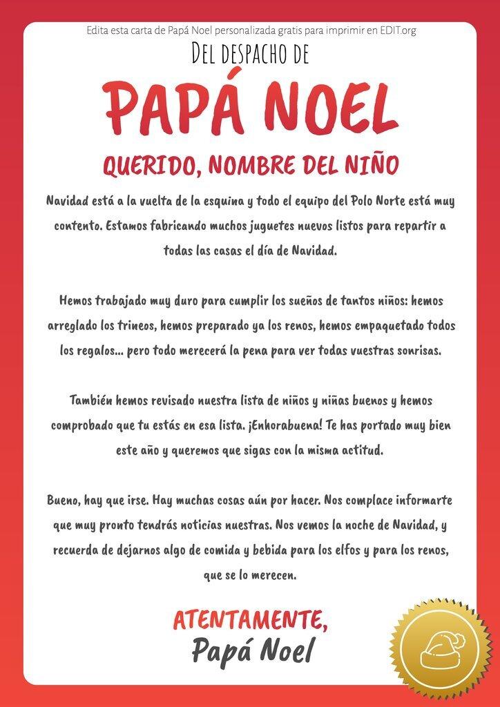 Carta de Papá Noel personalizada para niños