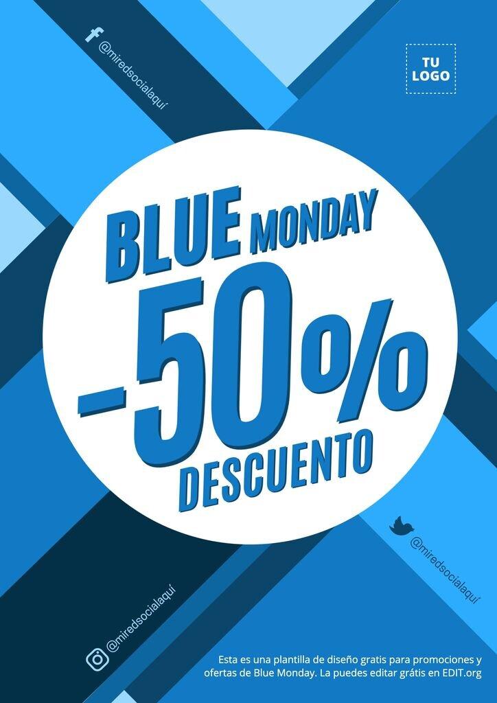 Blue Monday plantilla para el lunes azul, editable, gratis y lista para descargar